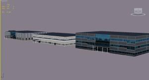 Three virtual corporate buildings