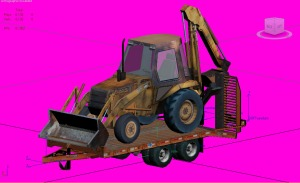Low Poly Backhoe with Trailer